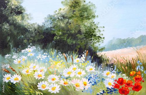 Obraz olejny krajobraz - łąka stokrotek