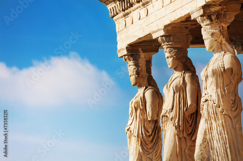 Poster Athens Beautiful close up statues view of Erechtheion
