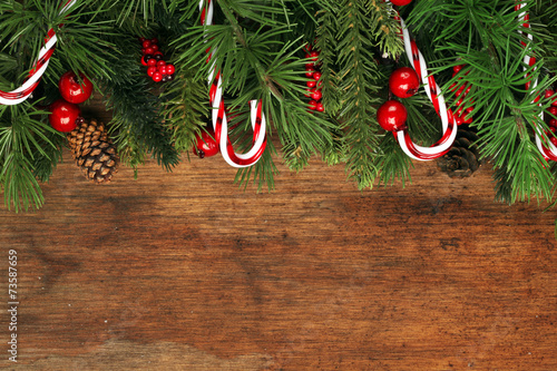 Fotografering  Christmas tree branches background