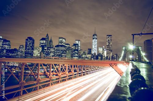 Keuken foto achterwand New York New York city night skyline from Brooklyn bridge