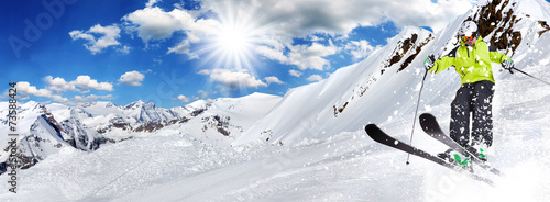 Skier in high mountains #73588424