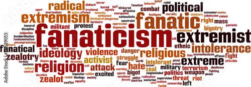 Fanaticism word cloud concept. Vector illustration Wallpaper Mural