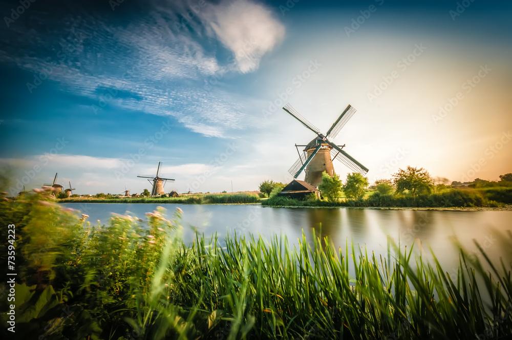 Photo  Historians Dutch windmills near Rotterdam