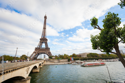 Eiffel Tower in Paris on a Cloudy Day Canvas Print