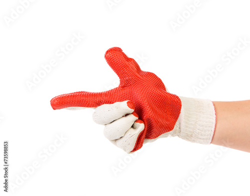 Papiers peints Rouge, noir, blanc Hand in gloves holds as gun.