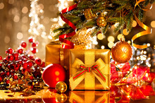 Decorated Christmas Tree With Gifts. Holiday Christmas Scene