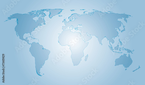 Vector glass world map water colors with outline