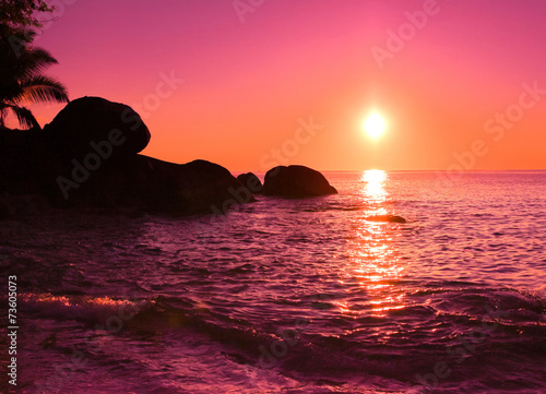 In de dag Candy roze Coast Sunrise Seascape