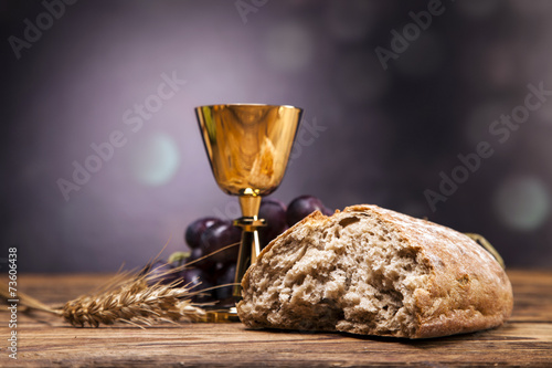 Sacred objects, bible, bread and wine. #73606438
