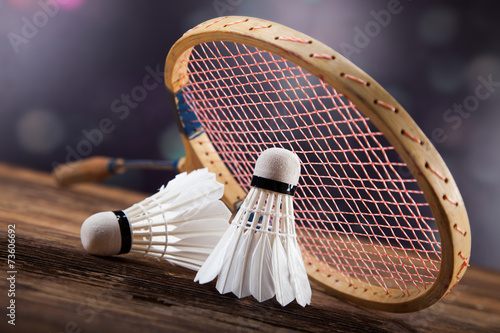 A set of badminton. Paddle and the shuttlecock. #73606692