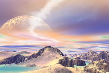 Plakat 3D rendered fantasy alien planet. Rocks and sky