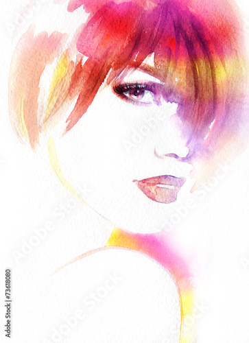 Beautiful woman. watercolor illustration - 73618080