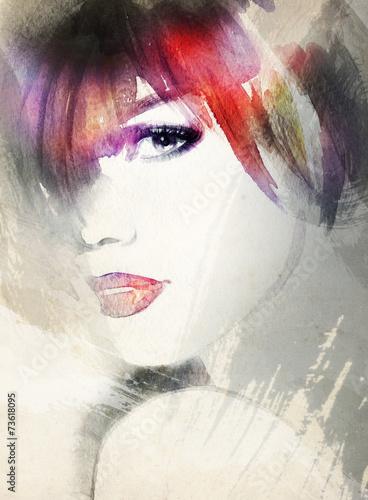 Obraz w ramie woman portrait .abstract watercolor .fashion background