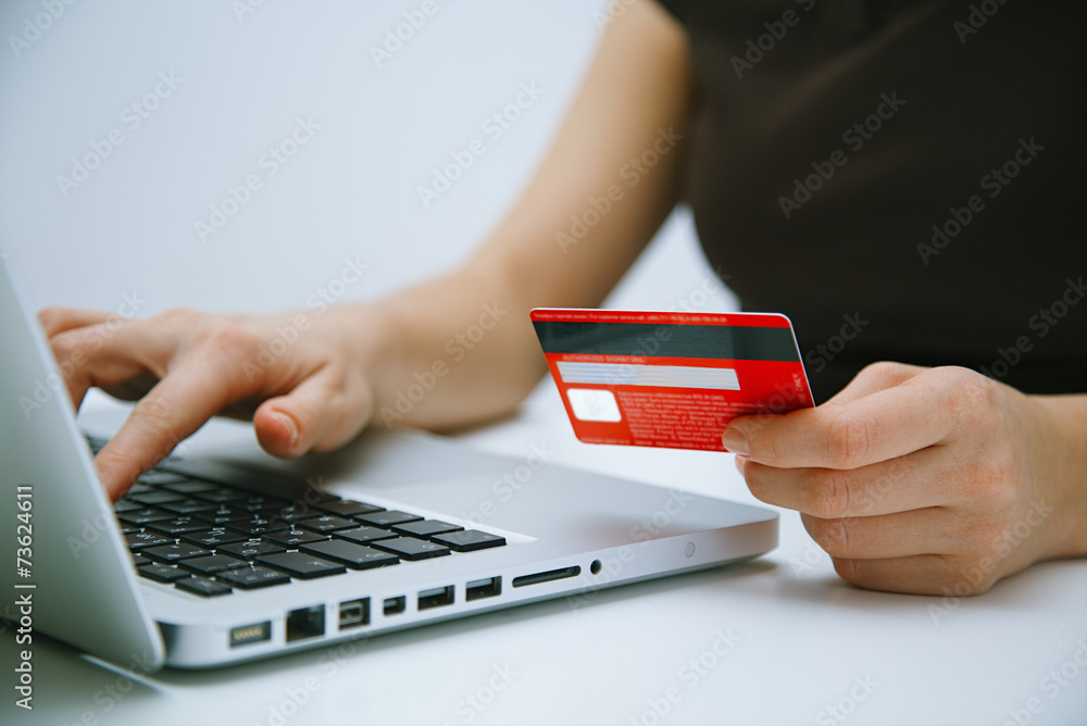 Fototapeta Paying with credit card online