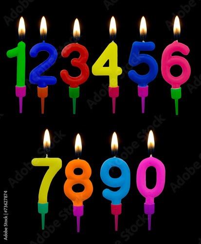 Birthday Cake Candles Numbers With Flames Over Black