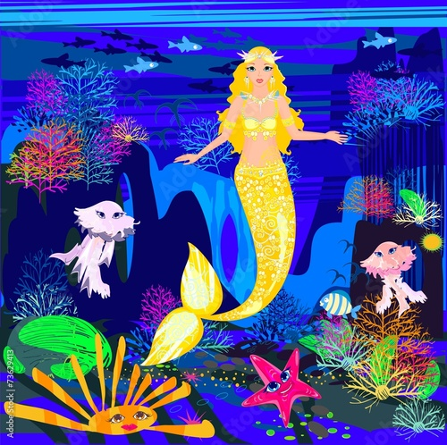Wall Murals Mermaid Beautiful mermaid with golden scales