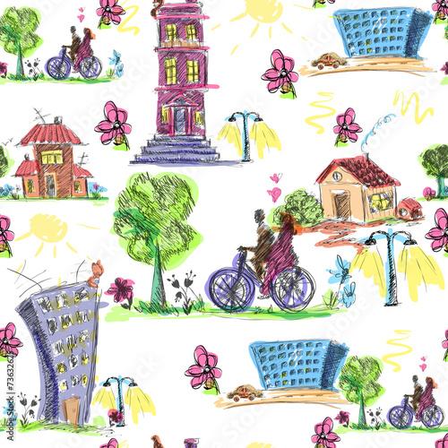 doodle-miasto-kolorowy-wzor
