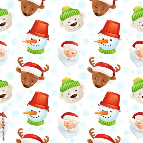 Cotton fabric Christmas characters seamless pattern