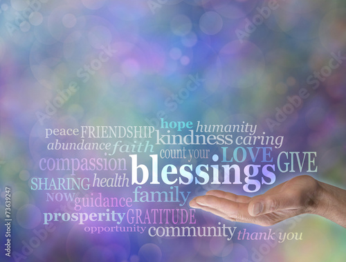 Fotografie, Obraz Count Your Blessings Word Cloud on Bokeh Background