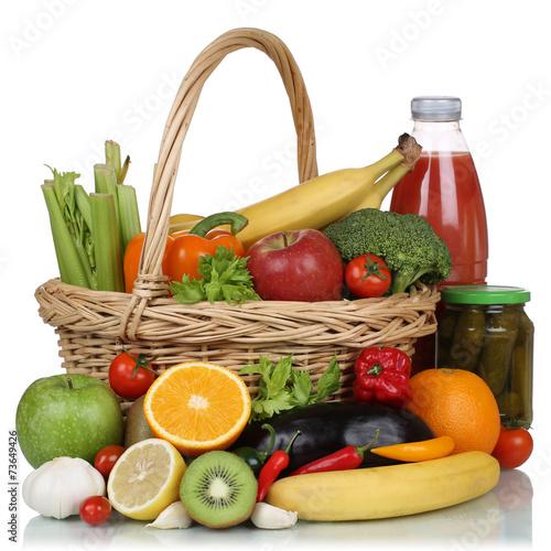 Fototapeta Vegetarisch Früchte, Gemüse, Obst, Lebensmittel Einkäufe im K obraz na płótnie