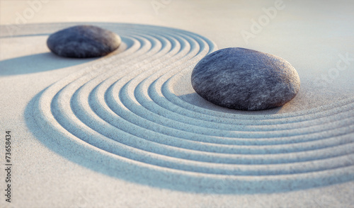 Foto op Plexiglas Stenen in het Zand 2 Steine und Wellen im Sand
