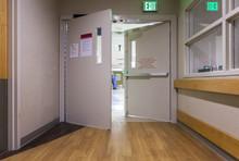 Door At Corridor In A Modern Hospital.