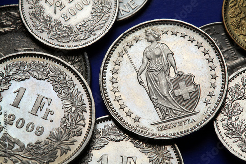Fotografie, Obraz  Coins of Switzerland