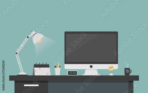 Fototapeta Computer desk workplace concept, Flat design vector illustration obraz
