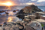 Fototapeta Rocks - Sunset at Giant s causeway