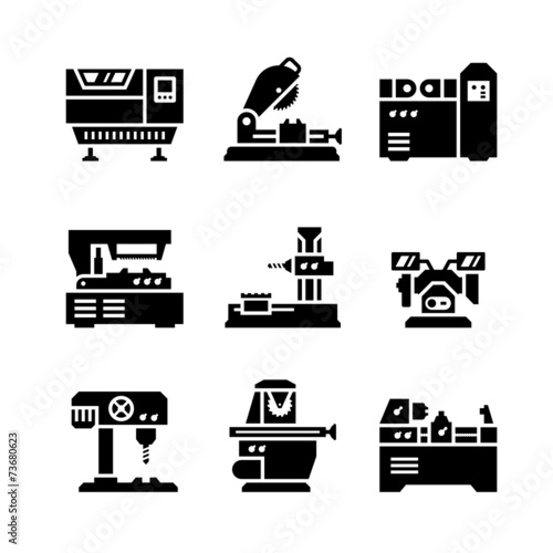 Fotografie, Obraz  Set icons of machine tool