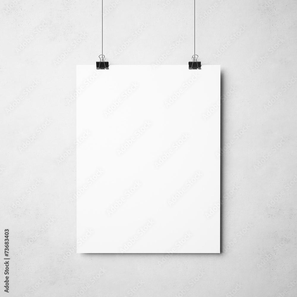 Fototapeta white poster on concrete background