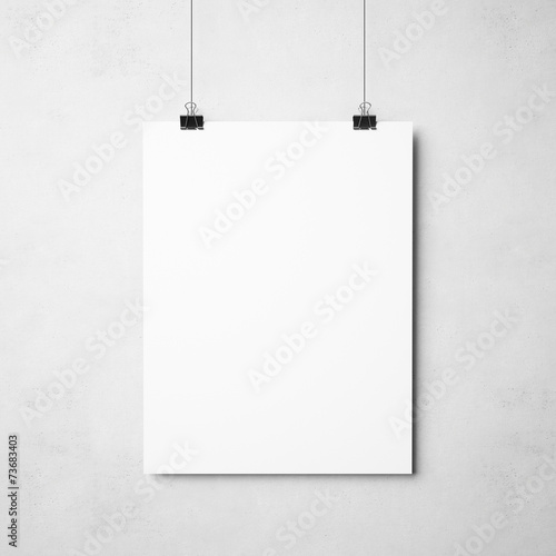Fototapeta white poster on concrete background obraz