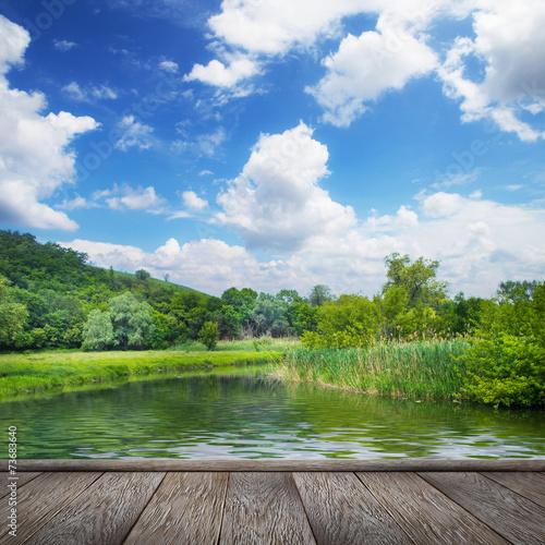 Fotobehang Grijs summer landscape