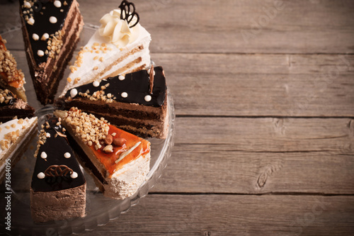 Fototapeta cake on old wooden background obraz