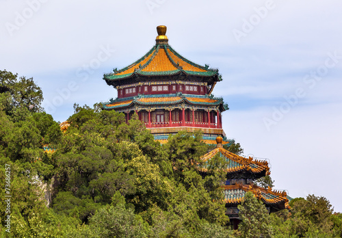 Tuinposter Beijing Longevity Hill Pagoda Tower Summer Palace Beijing China