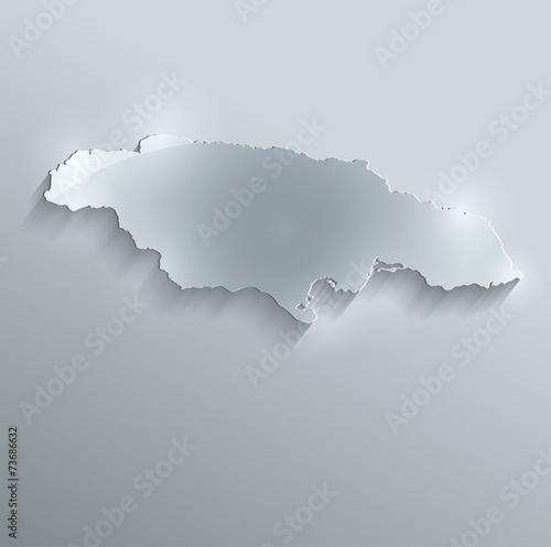 Photo Jamaica map flag glass card paper 3D vector