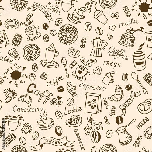 bezszwowy-doodles-tlo-z-kawa-i