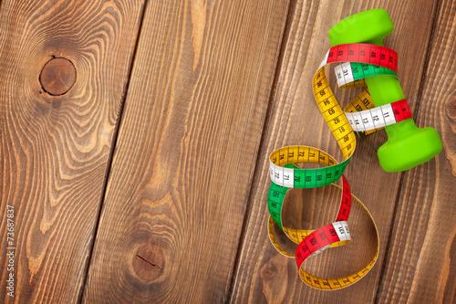 Foto op Plexiglas Fitness Dumbell and tape measure