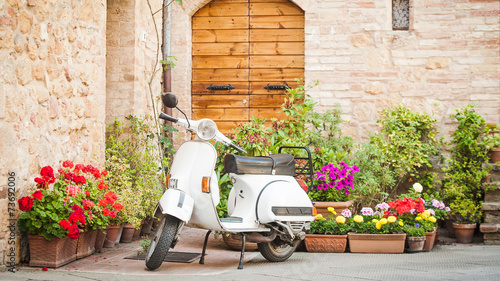Garden Poster Scooter One of the most popular transport in Italy, vintage Vespa