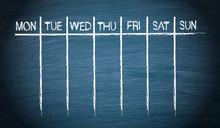 Weekly Calendar On Blue Chalkboard Background