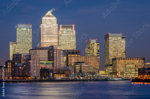 London, Canary Wharf (blue hour) #73693471