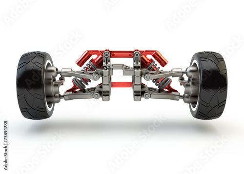 Fotografía  Front axle with suspension and sport gas absorbers isolated on w
