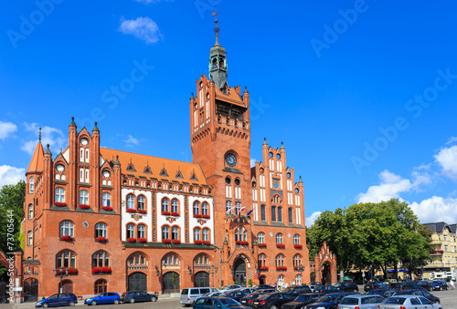 Neo-gothic Town Hall in Słupsk, Poland