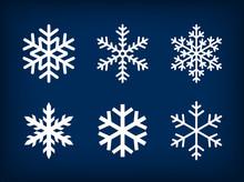 White Snowflakes On Dark Blue ...