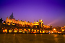 Market Square In Cracow At Night