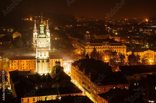 Fototapeta Night Lviv obraz na płótnie