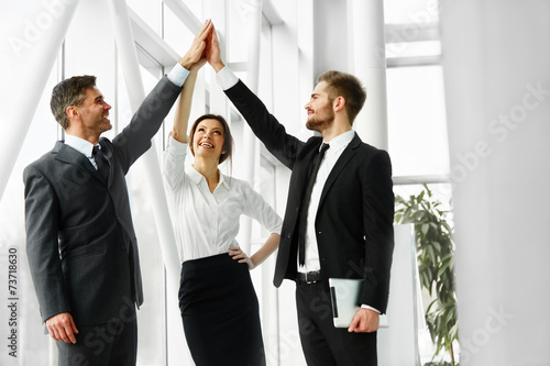 Business Team. Successful Business People Celebrating a Deal Poster