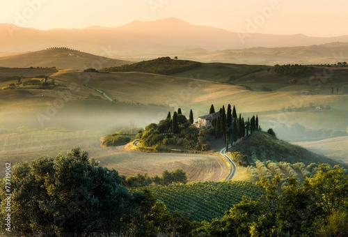 Tuscany italy foggy morning hill panorama Fototapeta