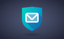 Long Shadow Shield Icon With An Email Sign