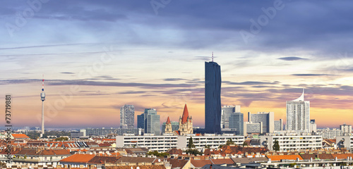 Skyline of the Danube City of Vienna